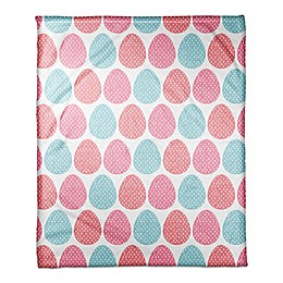 Designs Direct Colorful Easter Eggs Throw Blanket in Pink