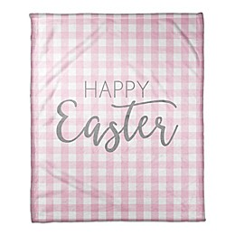 "Designs Direct ""Happy Easter"" Buffalo Check Fleece Blanket in Pink"