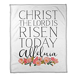 Designs Direct Lord is Risen Floral Throw Blanket in Black