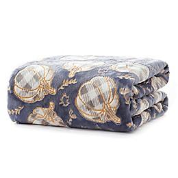 Gingham Harvest Throw Blanket in Navy