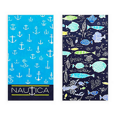 Nautica® 2-Piece Rainbow Fish/Captains Ship Beach Towel Set