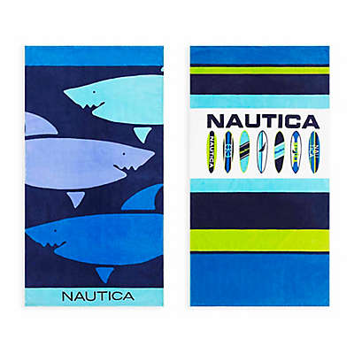 Nautica® 2-Piece Shark Day/Surfboard Line Up Beach Towel Set