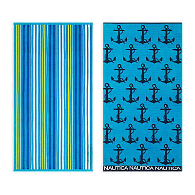 Nautica® 2-Piece Anchor Stripe/Lullwater Beach Towel Set