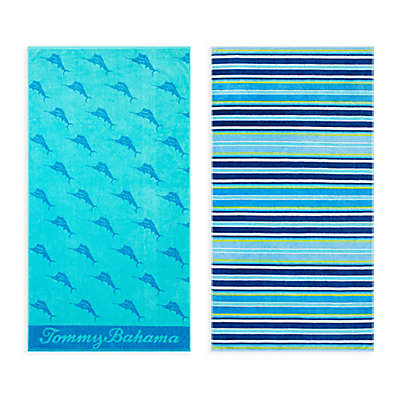 Tommy Bahama® Awning Stripe/ Oceans Marlin Beach Towel Set