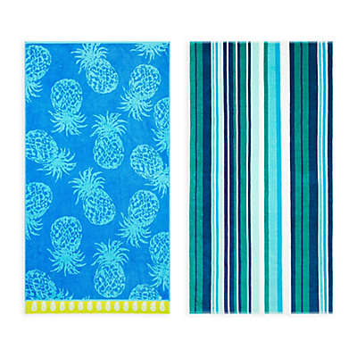 Tommy Bahama® Pineapple Passion/Canvas Stripe Beach Towel Set