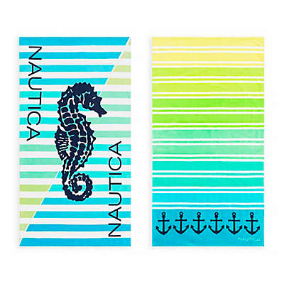 Nautica® 2-Piece Seahorse Stripe/Ombre Stripe Beach Towel Set