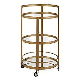 Hudson&Canal Hause Metal and Mirror Bar Cart in Gold