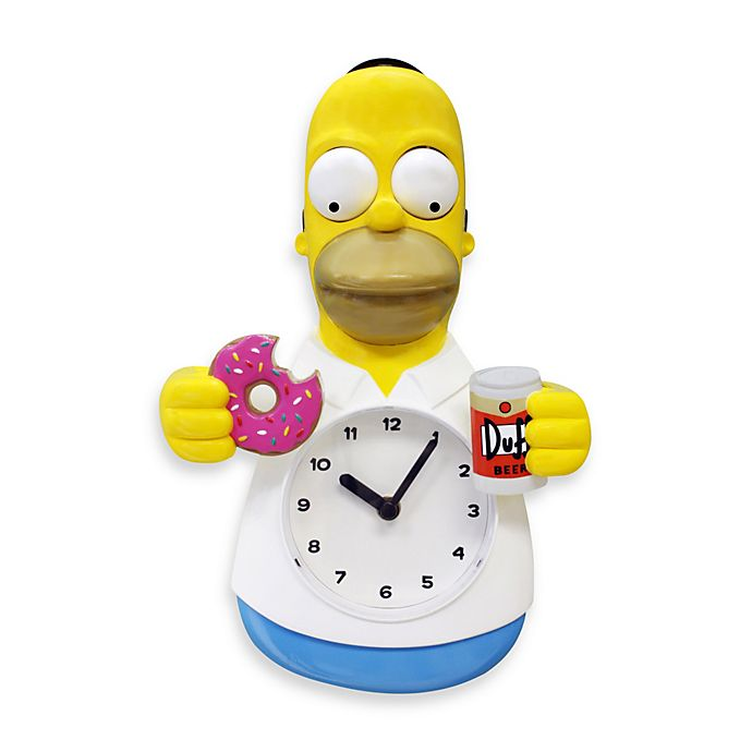 Alternate image 1 for Homer Simpson 12-Inch 3-D Motion Wall Clock