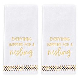Everything Happens Hand Towels in White (Set of 2)