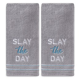 Slay the Day Hand Towels in Grey (Set of 2)
