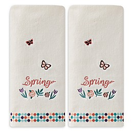 Spring Floral Hand Towels in Cream (Set of 2)