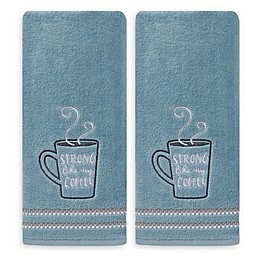 Strong Coffee Hand Towels in Blue (Set of 2)