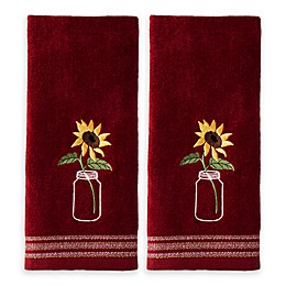 Sunflower Jar Hand Towels in Wine (Set of 2)