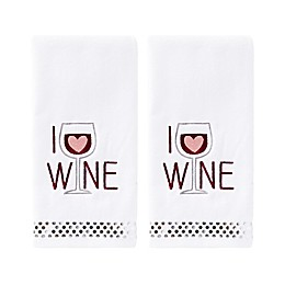 I Love Wine Hand Towels in White (Set of 2)