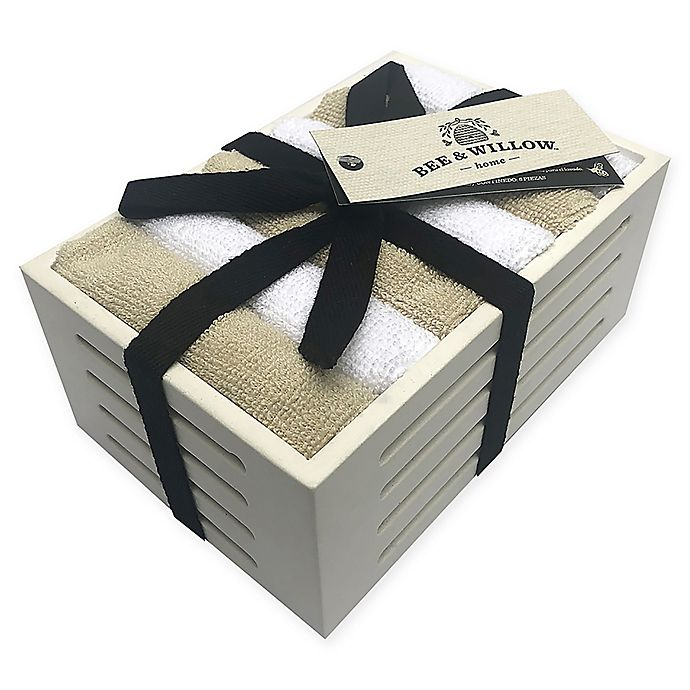 Alternate image 1 for Bee & Willow™ Home Washcloths in White Wooden Basket (Set of 6)