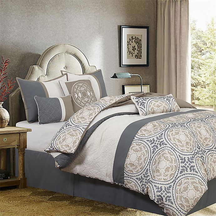 Alternate image 1 for Camila Medallion Print 7-Piece California King Comforter Set