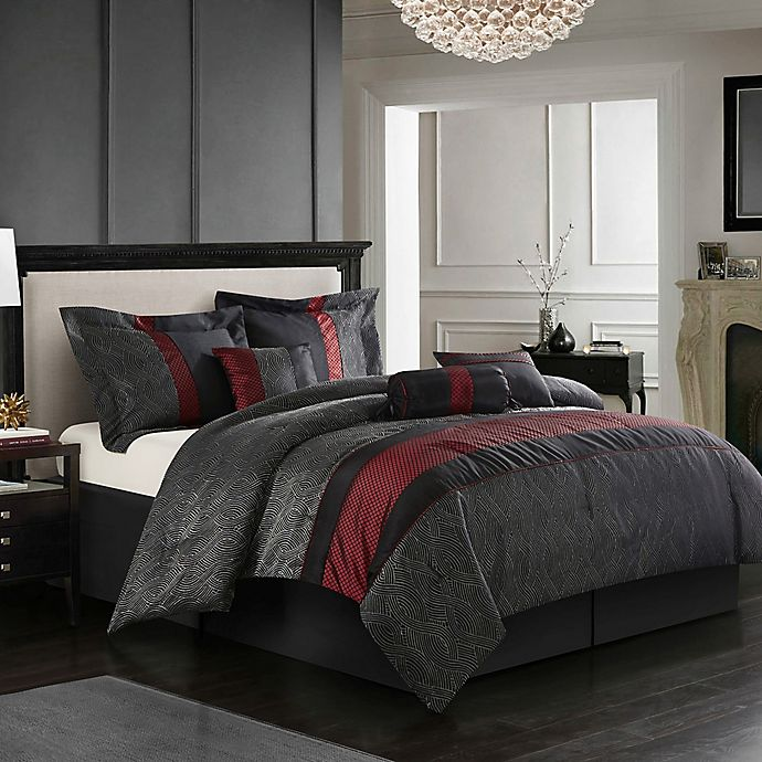 Alternate image 1 for Nanshing Corell 7-Piece Queen Comforter Set in Black/Red