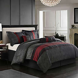 Nanshing Corell 7-Piece Queen Comforter Set in Black/Red