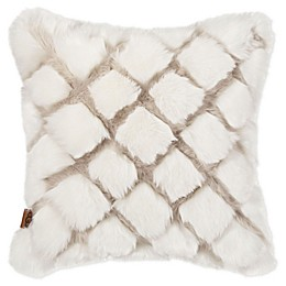 UGG® Kayley Diamond Faux Fur Square Throw Pillow in Snow/Birch