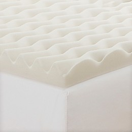 CopperFresh® 2-Inch Wave Foam Reversible Mattress Topper in Beige