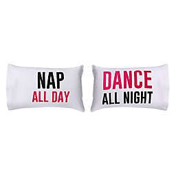 """""""Nap All Day Dance All Night"""" 300-Thread-Count Standard Pillowcases (Set of 2)"""