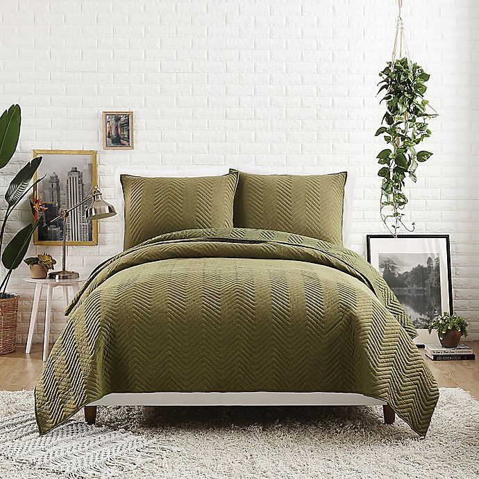 Alternate image 1 for Maker's Collective Jersey Herringbone Stitch Twin/Twin XL Quilt in Olive
