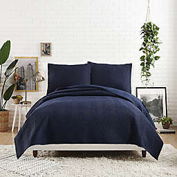 Maker's Collective Jersey Herringbone Stitch Twin/Twin XL Quilt in Navy