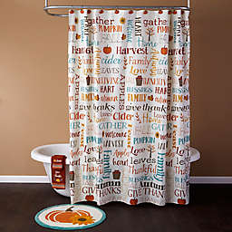 Harvest Words Shower Curtain Collection
