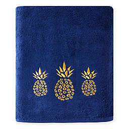 Saturday Knight Gilded Pineapple Bath Towel in Blue