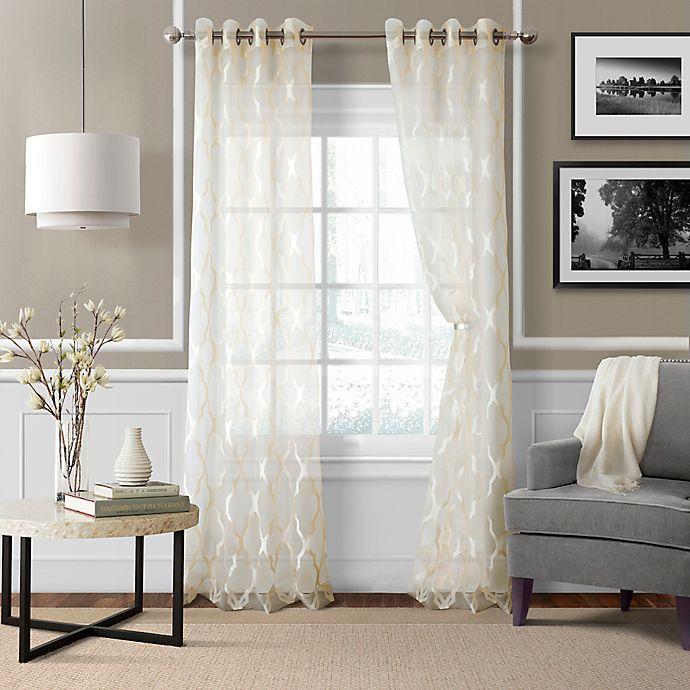 Sonata Trellis Grommet Window Curtain Panel Bed Bath Beyond