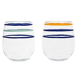 kate spade new york Citrus Twist™ Stemless Wine Glasses (Set of 2)