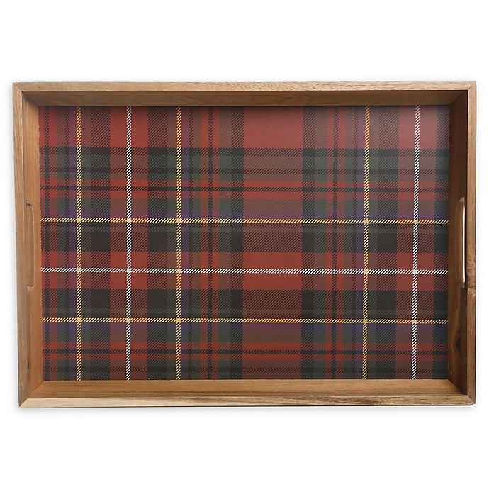 Alternate image 1 for Bee & Willow™ Home Plaid 19.7-Inch Handled Serving Tray