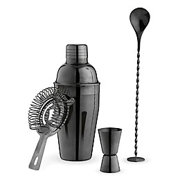 True 4-Piece Barware Set in Black