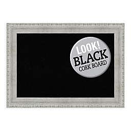 Amanti Art Rustic 28-Inch x 20-Inch Cork Board in Black/Whitewash