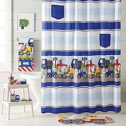 Trains and Trucks Shower Curtain in Yellow