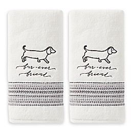 Furever Friends Hand Towels in White (Set of 2)