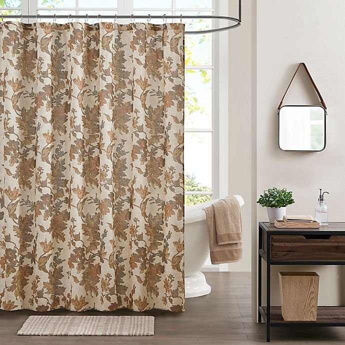 Alternate image 1 for Bee & Willow™ Home Autumn Floral Shower Curtain in Brown