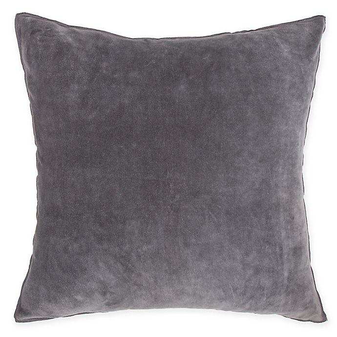 Alternate image 1 for O&O by Olivia & Oliver™ Velvet Square Throw Pillow in Charcoal