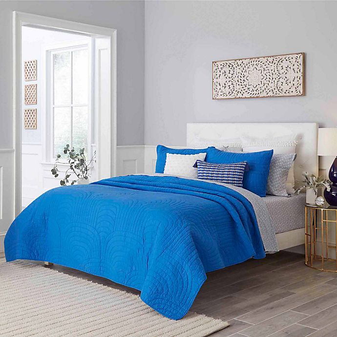 Alternate image 1 for Trina Turk® Palm Desert 3-Piece Full/Queen Quilt Set in Blue Aster