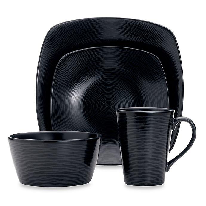 Alternate image 1 for Noritake® Black on Black Swirl 4-Piece Square Place Setting