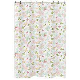 Sweet Jojo Designs Butterfly Floral Shower Curtain in Pink/Mint