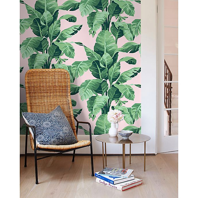 Pacifico Palm Removable Vinyl Wallpaper In Green Pink Bed Bath Beyond