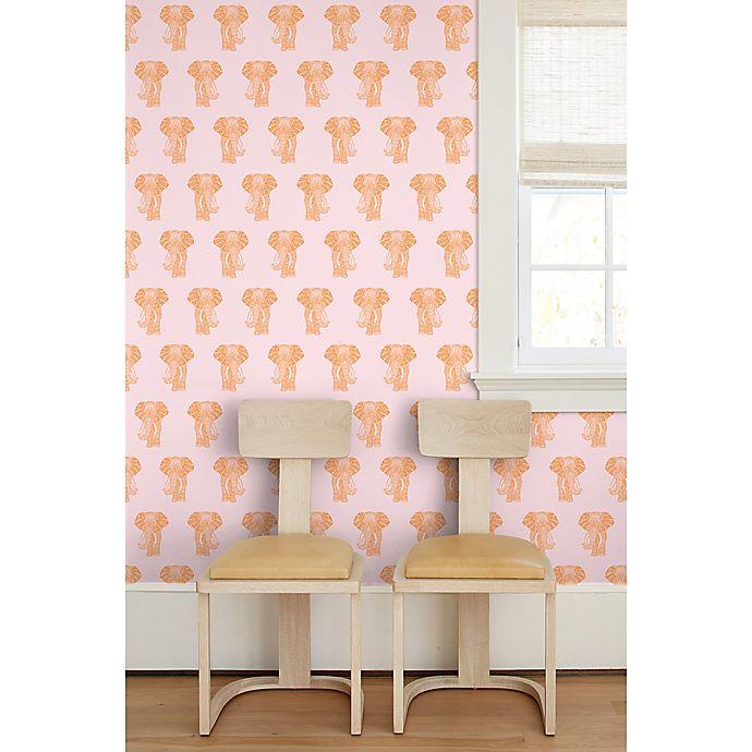 Raja The Elephant Removable Vinyl Wallpaper In Orange Pink Bed Bath Beyond