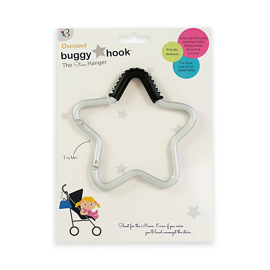 Alternate image 1 for Buggygear™ Star Stroller Hook with Leather Accent in Silver/Black