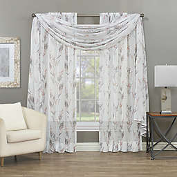 Baywood Crushed Voile Print Sheer Window Curtain Panel and Scarf Valance