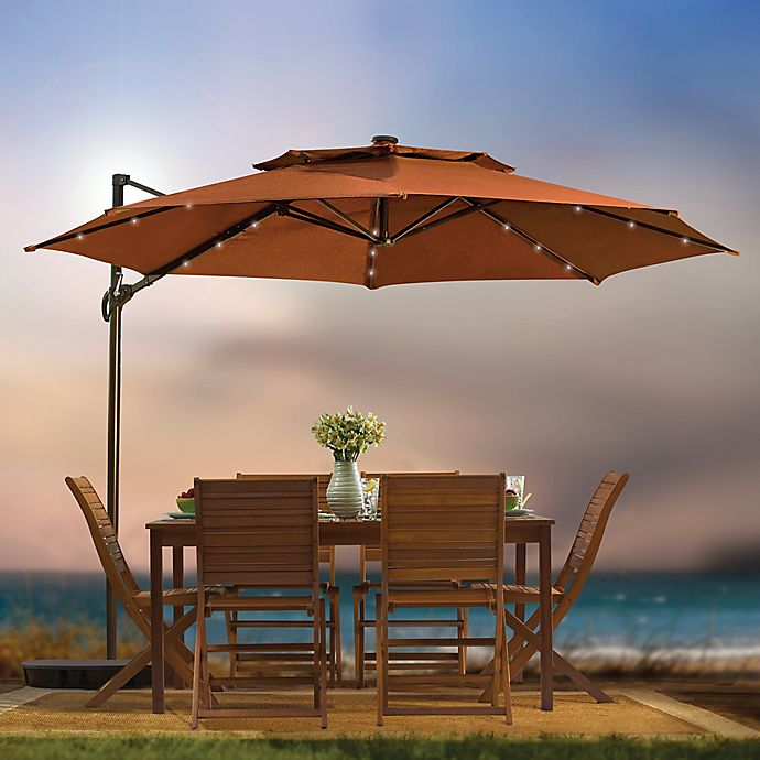 11 Foot Round Cantilever Umbrella With Solar Lights Umbrella Bed Bath Beyond
