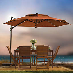 11-Foot Round Cantilever Umbrella with Solar Lights Umbrella
