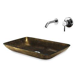 Vigo Copper Rectangle Vessel Sink With Dual Faucet