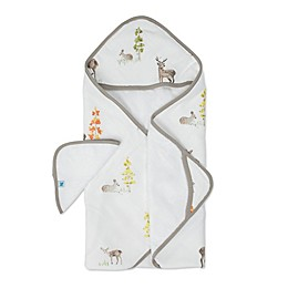 Little Unicorn Oh Deer 2-Piece Hooded Towel and Washcloth Set in Brown/White