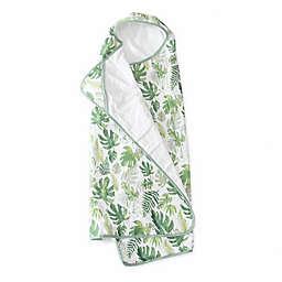 Little Unicorn Tropical Leaf Hooded Towel in Green